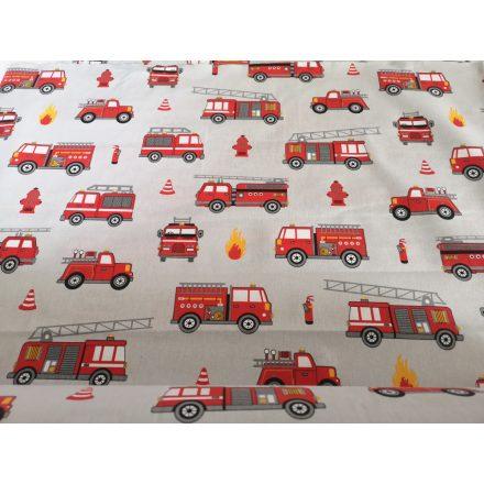 Tűzoltó autó mintás gyermek pamutvászon textília 160 cm széles.