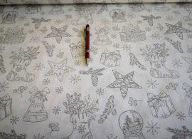 160 cm széles piros rénszarvas - karácsonyfa mintás pamutvászon méteráru.