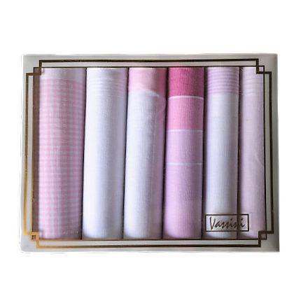 Női zsebkendő szett díszdobozban rózsaszín árnyalat