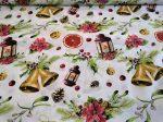 Klasszikus karácsonyi mintás piros - fehér textília.