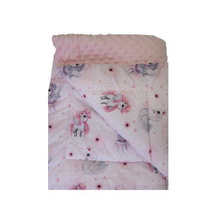 Kétoldalas babatakaró - púder rózsaszín - unikornis - hattyú