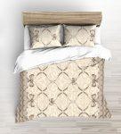 Barna virágos pamut ágynemű huzat szett 140x220