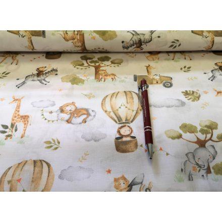 Pamutvászon textil fehér alapon kék - fekete egérfejes 160 cm