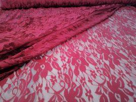 Bordó virágos csipke textil - méteráru