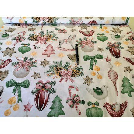 Pamutvászon méteráru - fehér alapon karácsonyi díszek
