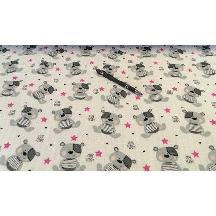 Tetra - textil pelenka méteráru - szürke maci - csillag mintával