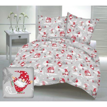 Piros páfrányos - manós karácsonyi ágynemű garnitúra