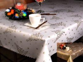 Tejeskávé színű asztalterítő virágos mintával 40x120 cm