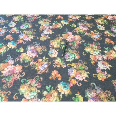 Farmerkék alapon virágos rugalmas jersey textil