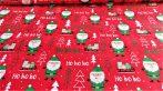 160 cm széles karácsonyi mintás pamutvászon - piros mikulás mintával.