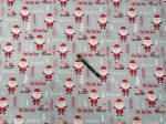 160 cm széles karácsonyi mintás pamutvászon - szürke mikulás mintával