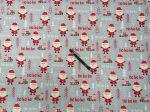 160 cm széles karácsonyi mintás pamutvászon - szürke mikulás minta