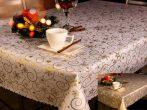 Karácsonyi asztalterítő arany indás 110 x 160 cm, mind két oldala használható.