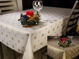Kétoldalas karácsonyi asztalterítő arany hópelyhes 40 x 80 cm.