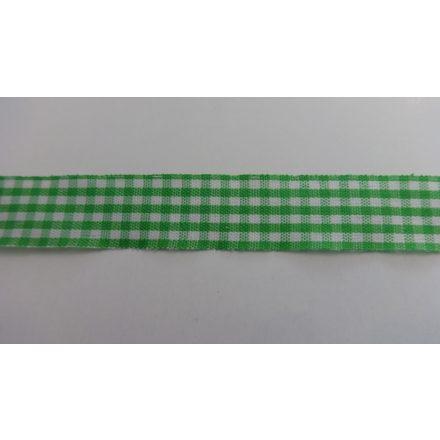 Zöld - fehér kockás textil szalag 12 mm széles.