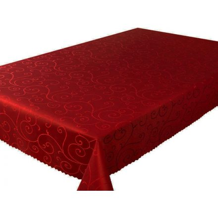 Bordó színű inda mintás asztalterítő - abrosz, mérete 50x100 cm.
