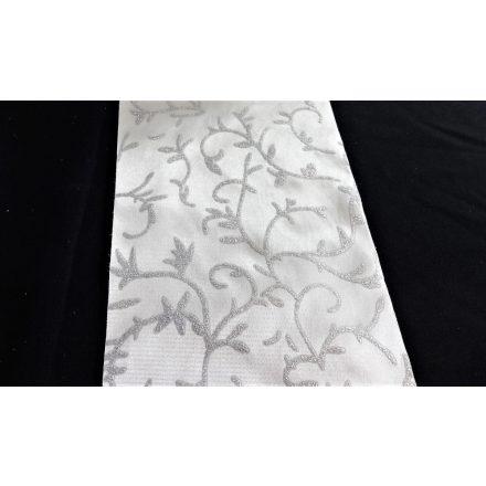 Fehér szatén szalag csillogó ezüst motívummal - 14 cm széles, egyoldalas.