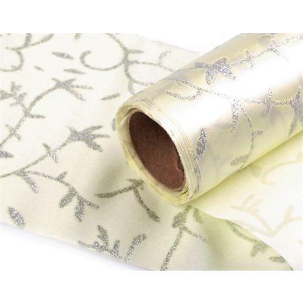 Ekrű színű szatén szalag csillogó ezüst motívummal - 14 cm széles, egyoldalas.