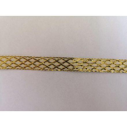 Lurex dekorációs szalag fehér - arany  színű - 10 mm