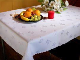 Foltálló fehér virág mintás asztalterítő - abrosz, 130x180 cm-es méretben.