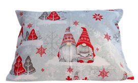 Piros manós karácsonyi mintás pamut kispárna huzat, 40x50 cm méretben, cipzár záródású.