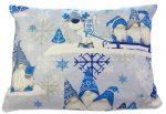 Kék manós karácsonyi mintás pamut kispárna huzat, 40x 50cm, cipzár záródású!