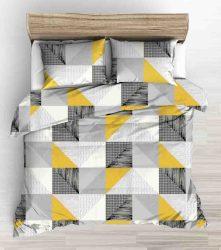 3 részes, extra hosszú 140x220 cm, ágynemű huzat szett citromsárga háromszög mintás