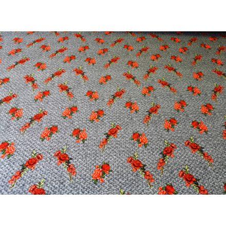 Csíkos akryl anyag, barna - rozsda - fehér színekben, 150 cm széles.