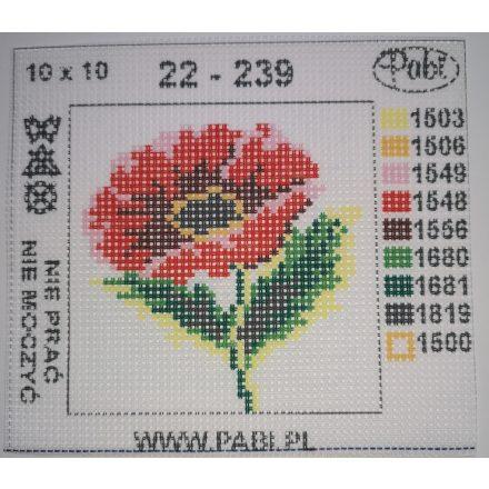 Piros virágos gobelin 10x10 cm.