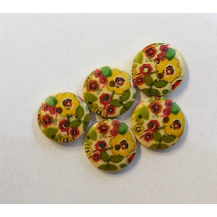 Kerek kétlyukú fagomb virág mintával, átmérő 18 mm, 6 db-os kiszerelésben.