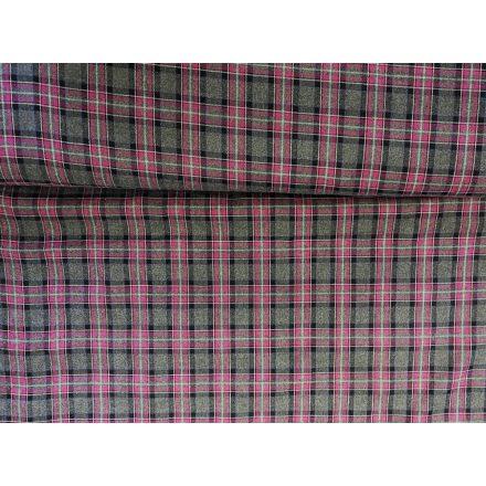 Szürke rózsaszín skótkockás szövet - 145 cm