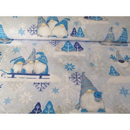 Kék manós téli - karácsonyi mintás pamutvászon méteráru.