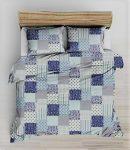 Krepp 3 részes ágynemű huzat 140x200 cm  szürke - piros modern mintás