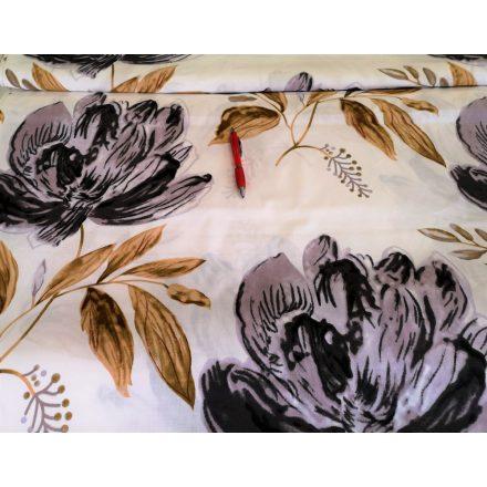 Fekete csipke mintás pamutvászon - 160 cm