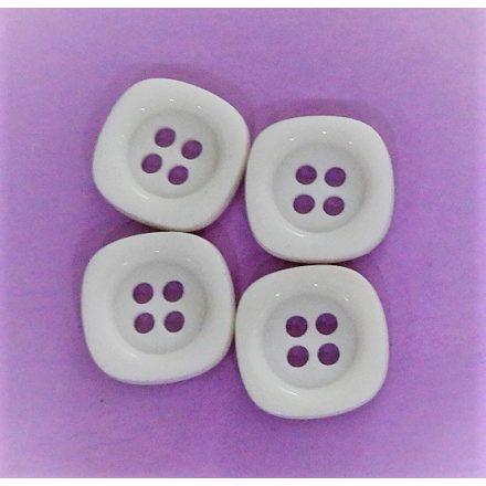 Fehér, műanyag gomb, négy lyukú, átvarrós ¤ 14 mm