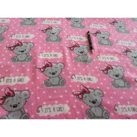 Tetra - textil pelenka méteráru - pink - szürke koala