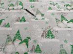 Szürke - világoszöld karácsonyi manós pamutvászon