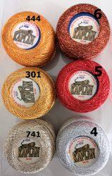 Kaplan 50-es vastagságú, 20 gr -os, fémszálas horgolócérna - horgolófonal több színben.