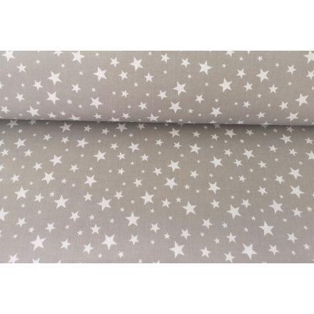 Pamutvászon szürke alapon fehér csillag mintás textil - 160 cm