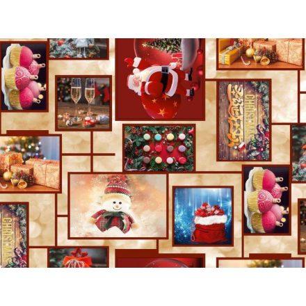 Karácsonyi mintás viaszos vászon - Merry Christmas - 140 cm