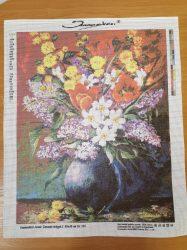50x40 cm méretű gobelin - Szamosközi Antal: Tavaszi virágok