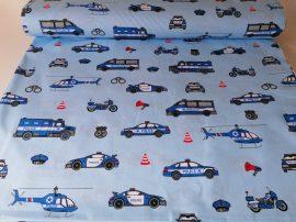 Kék rendőrös pamutvászon textil