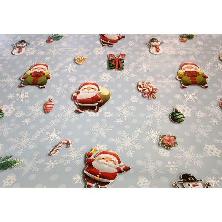 Karácsonyi mintás viaszos vászon - szürke - arany ünnepi mintával - 140 cm