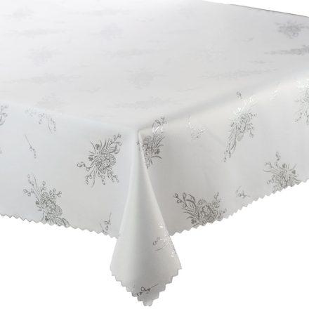 Teflonos asztalterítő önmagában virág mintával fehér színben 140x180 cm