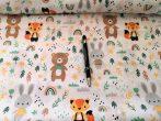 Fekete alapon fehér kutyás mintás pamutvászon textil 160 cm széles