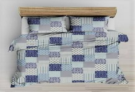 Kék - sárga virágos 3 részes ágynemű huzat szett 140x200 cm