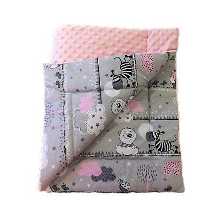 Rózsaszín állatos kétoldalas minky baba takaró