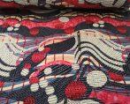 160 cm széles futter textil, szürke alapon pink és fehér virág mintával.