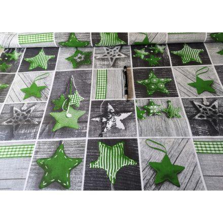 Zöld - szürke karácsonyi csillag mintás pamutvászon