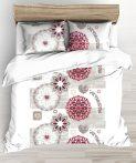 Pink nagy virágos 3 részes ágynemű huzat szett 140x200 cm
